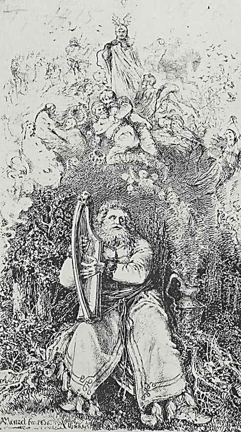 """Адольф фон Менцель. Иллюстрация к изданию Адама Мицкевича """"Собрание сочинений. Часть первая. Стихотворения"""", Сидящий в лесу, играющий на арфе старый"""