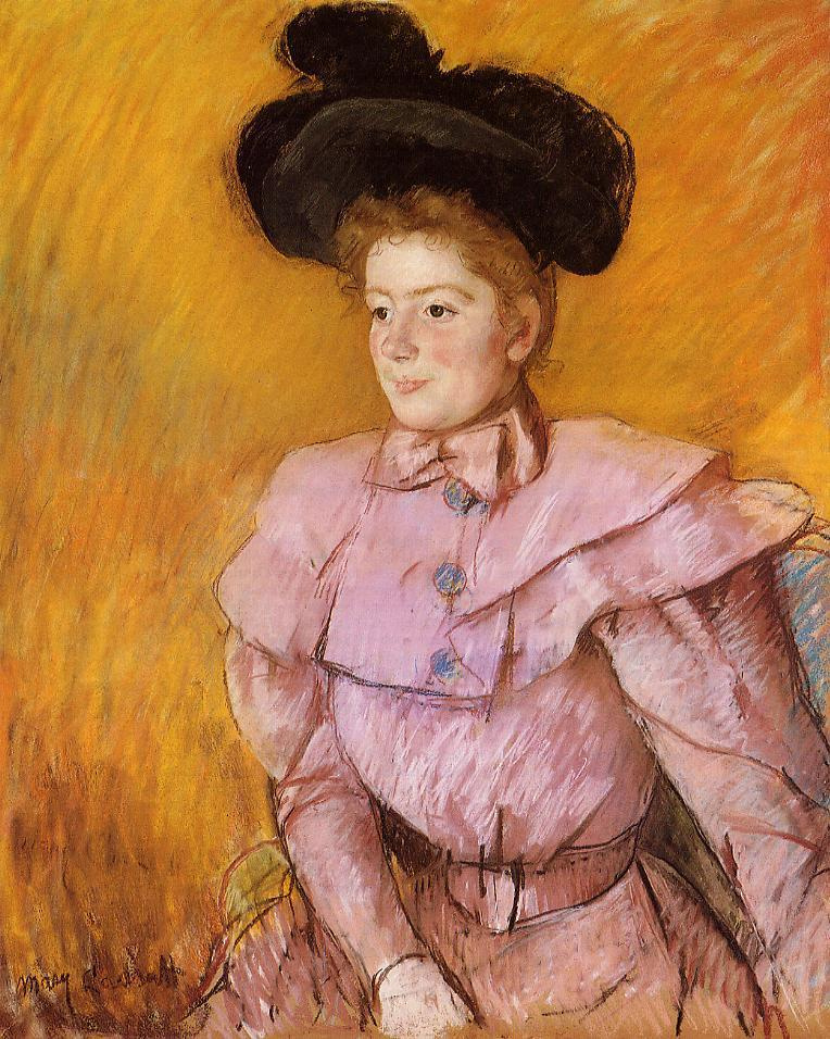 Mary Cassatt. A woman in a black hat and a raspberry pink costume