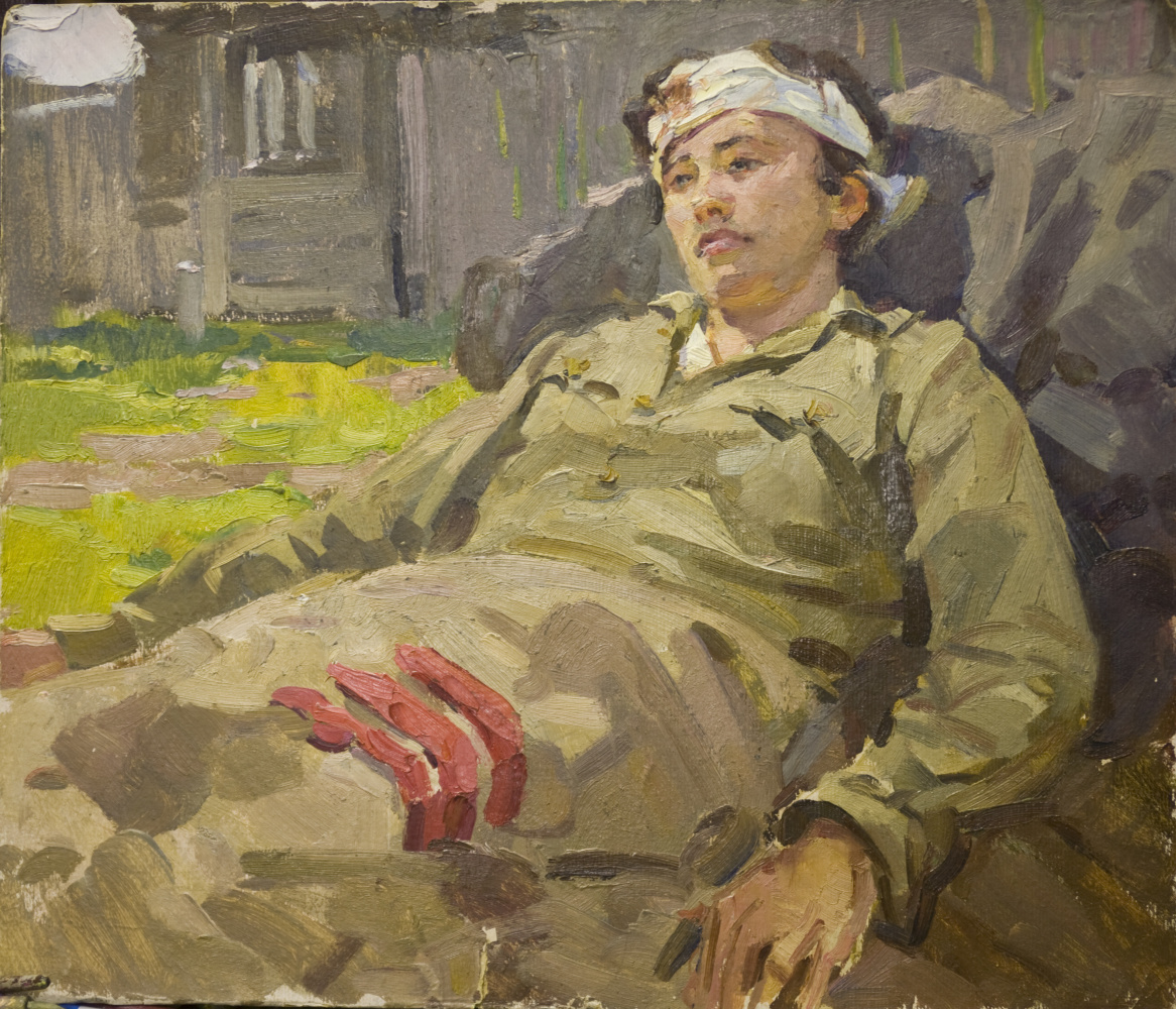 """Gennady Sorogin Pavlovich. """"The Wounded Commissar"""" Sketch for the painting """"Old Campaigns"""""""