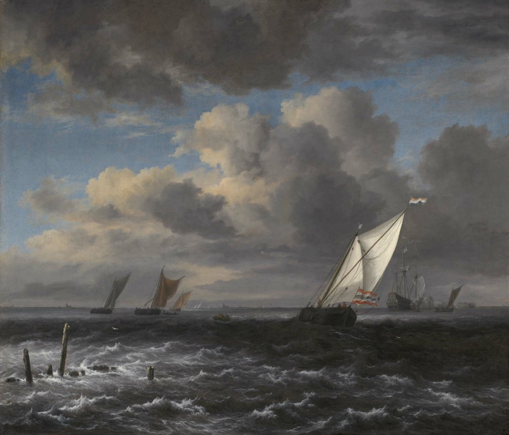 Jakob van Isaacs Ruisdael. Stormy sea