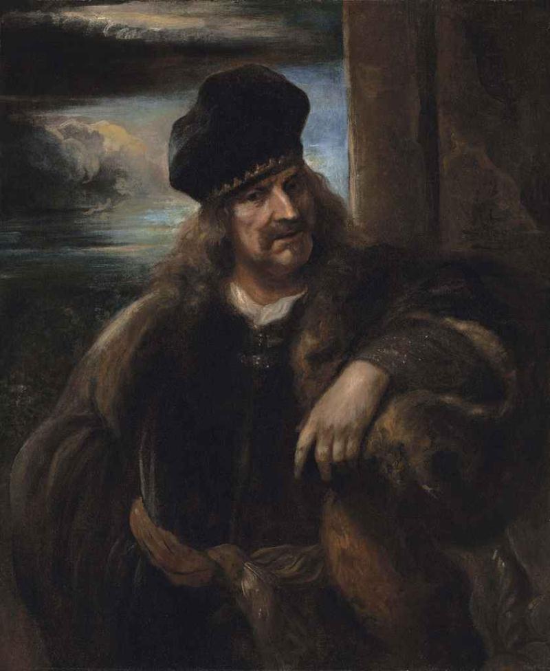Jan Lievens. Portrait of a man in a fur coat and velvet hat