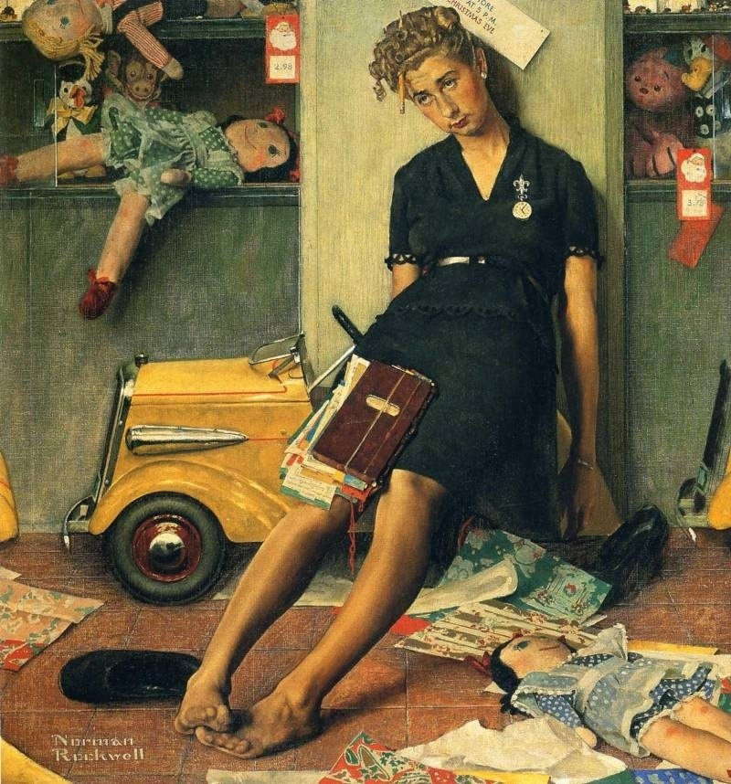 """Norman Rockwell. After the Christmas hustle and bustle. Cover of """"The Saturday Evening Post"""" (27 Dec 1947)"""