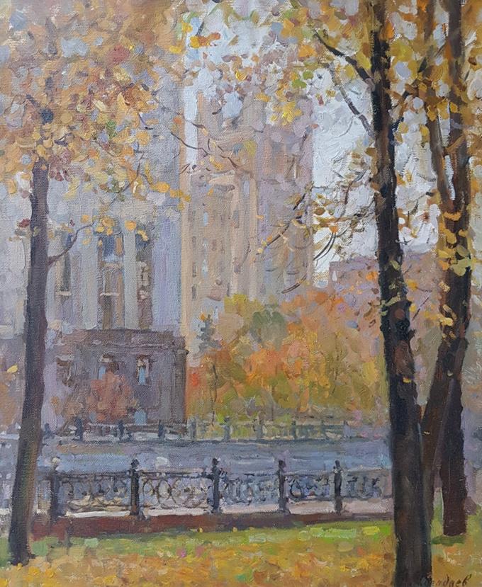 Aleksandr Chagadaev. Autumn on Kotelnicheskaya Embankment. Moscow.