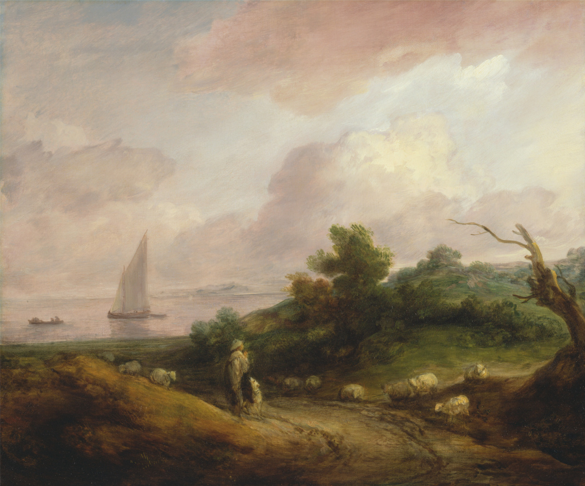 Thomas Gainsborough. Coastal landscape with a shepherd and his flock