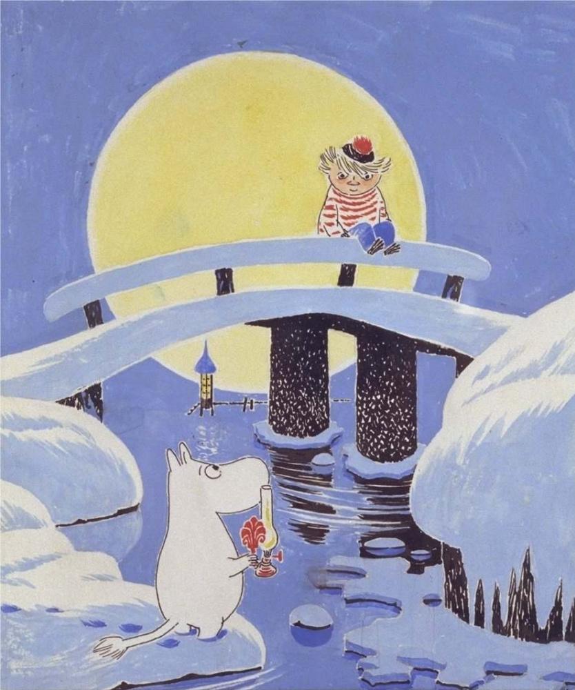 """Туве Янссон. Обложка к книге Т. Янссон """"Волшебная зима"""""""
