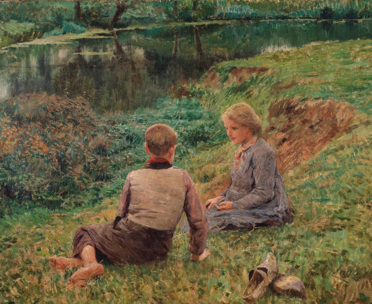 Emil Klaus. Children in the background of the landscape