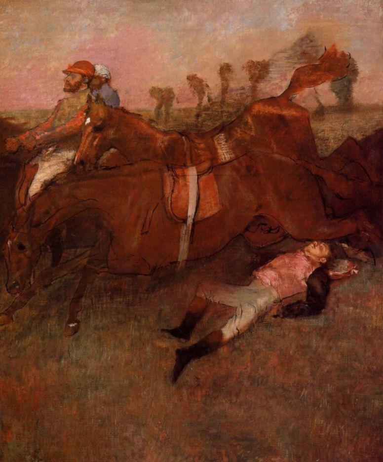 Эдгар Дега. Скачки, упавший жокей