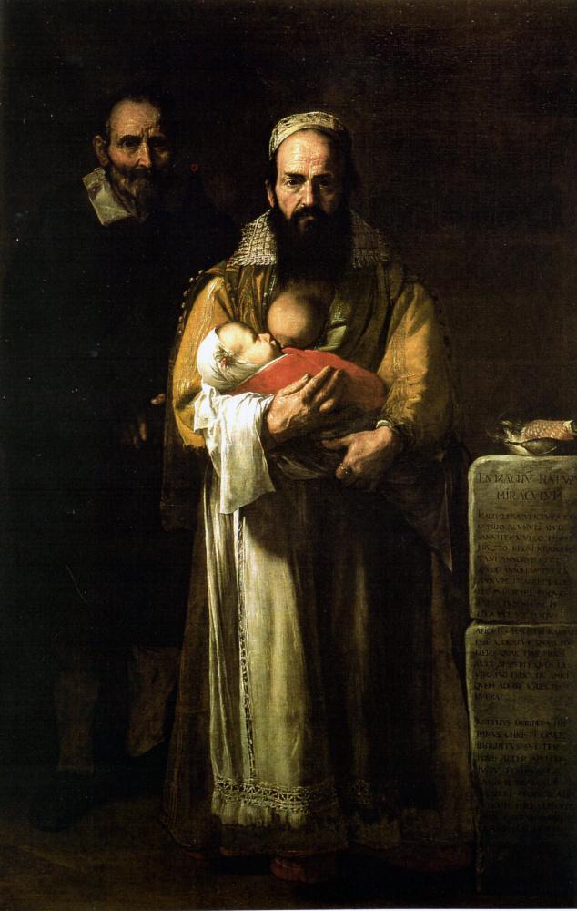 Jose de Ribera. Magdalena Ventura with Her Husband and Son