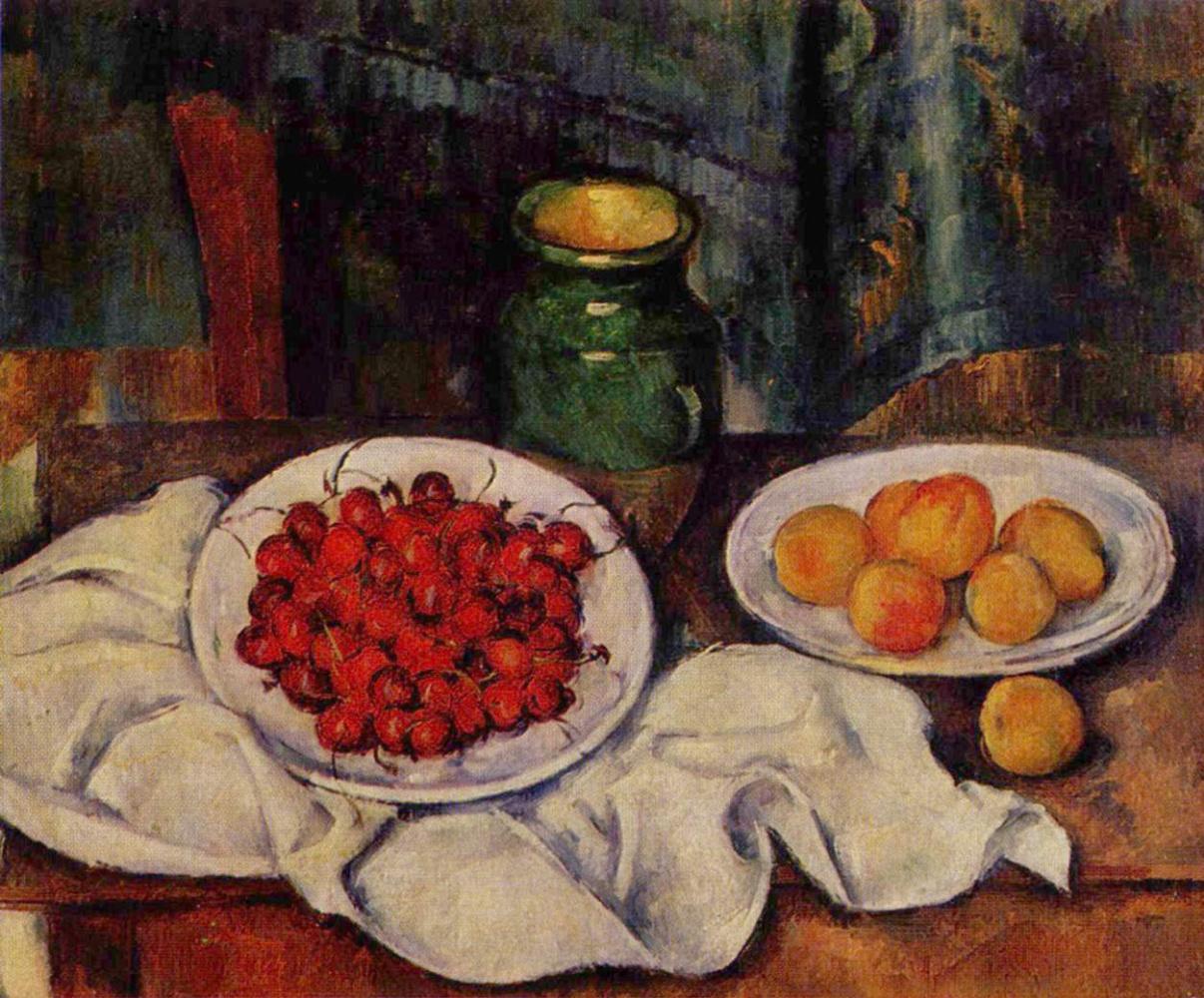 Поль Сезанн. Натюрморт с вишнями и персиками
