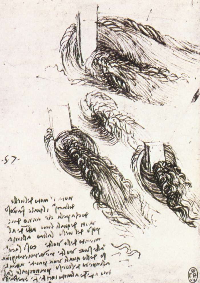 Leonardo da Vinci. Sketches of the movement of water