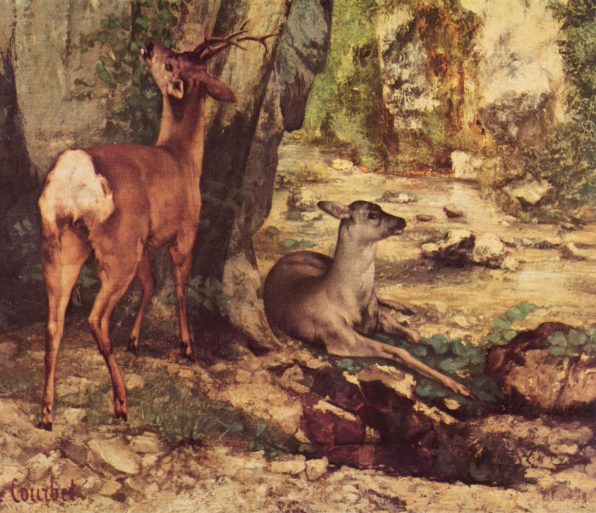 Gustave Courbet. An enclosure for ROE deer at the stream Fountain of joy. Detail