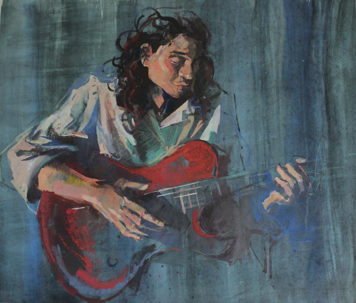 Tatyana Grigoryevna Meshkova. Girl with a guitar