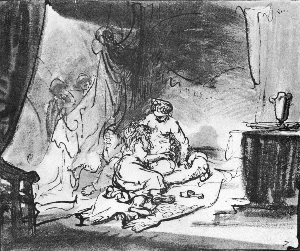 Рембрандт Ван Рейн. Самсон на коленях у Далилы