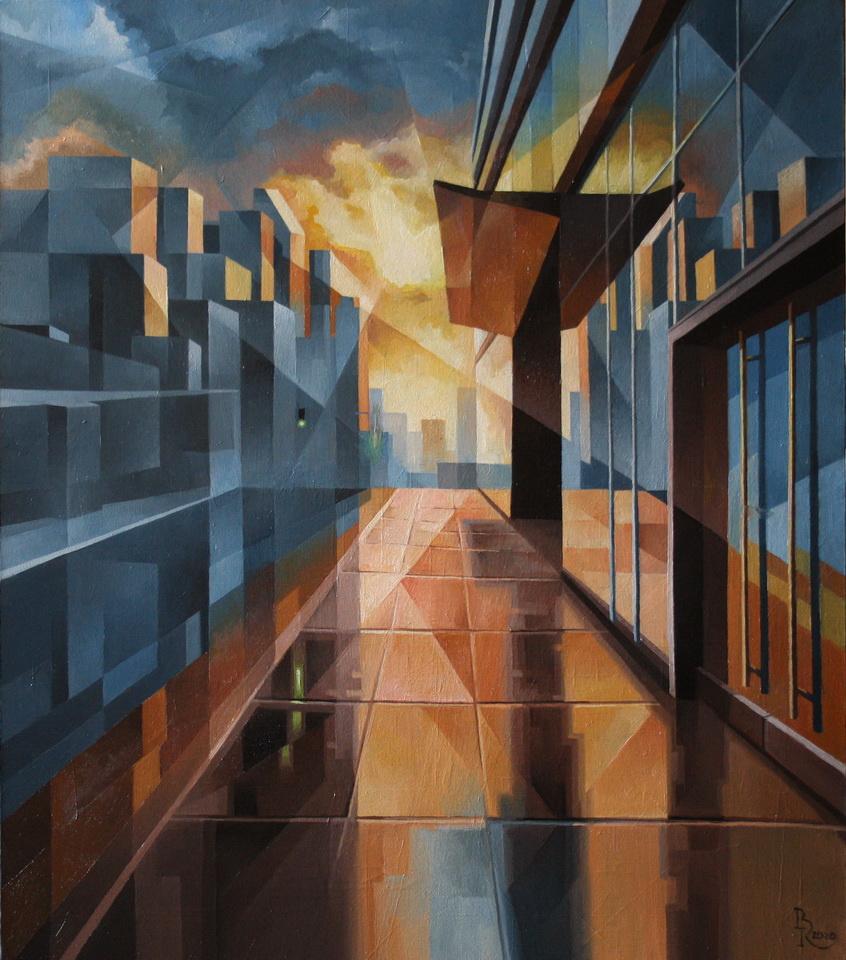 Vasily Krotkov. The city is waiting. Post-cubo-futurism