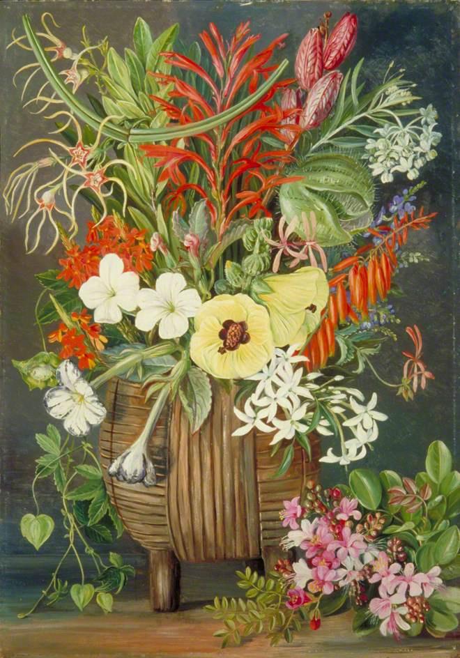 Марианна Норт. Натюрморт с южноафриканскими цветами в деревянной плетенной вазе