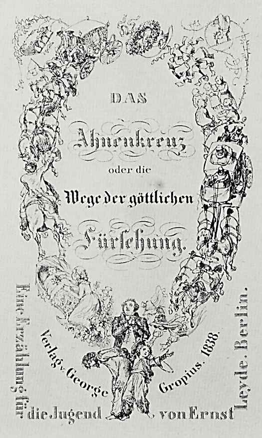 """Адольф фон Менцель. Титульный лист к сочинению Эрнста Лейде: """"Крест предков, или Пути Божественного провидения"""""""