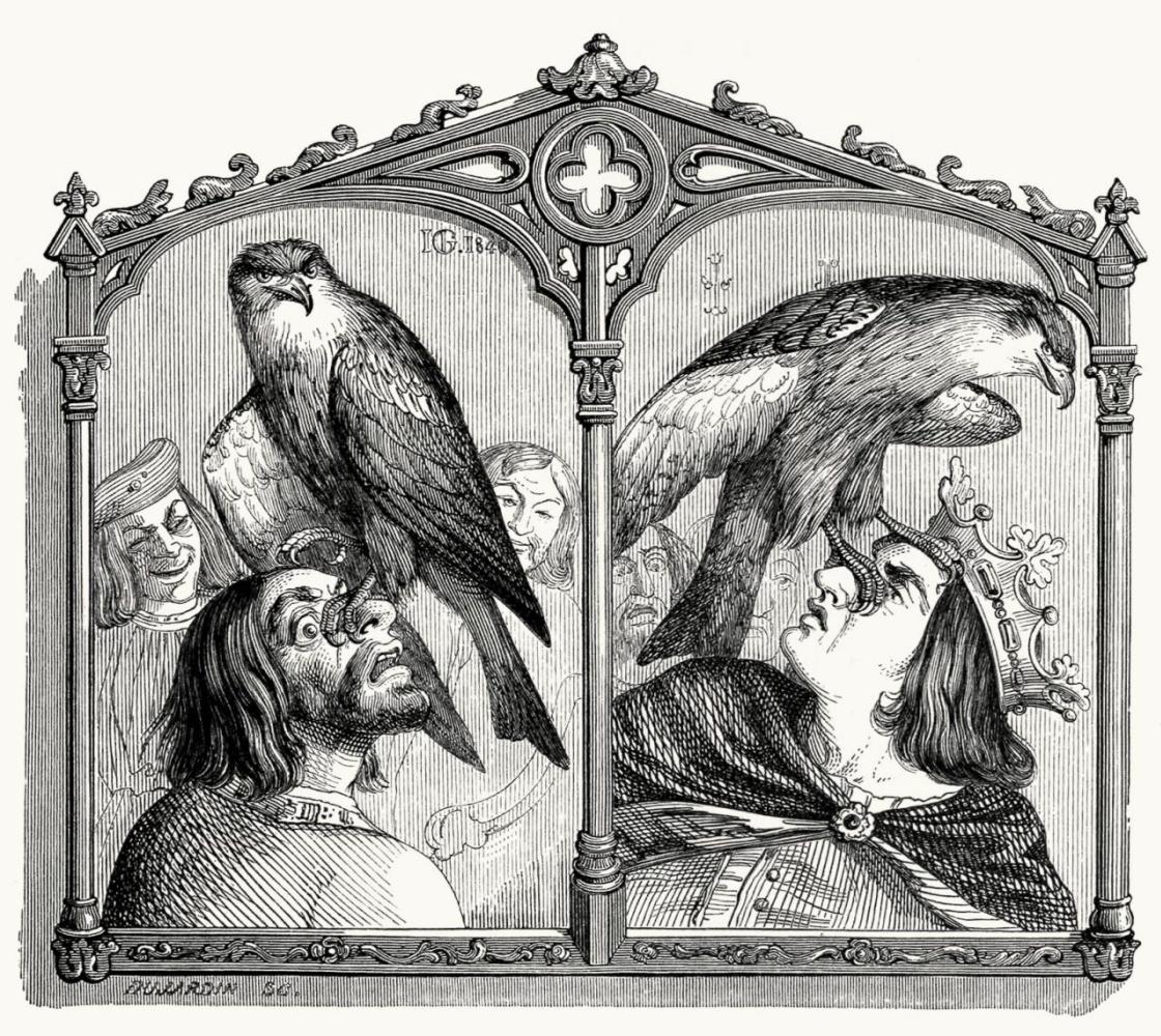 Жан Иньяс Изидор (Жерар) Гранвиль. Король, Коршун и Охотник. Иллюстрации к басням Жана де Лафонтена