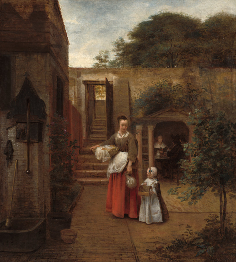 Питер де Хох. Женщина с ребенком во дворе