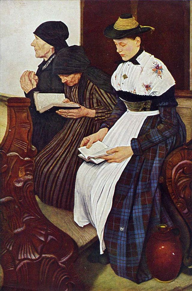 Wilhelm Maria Hubertus Leibl. Three women in church