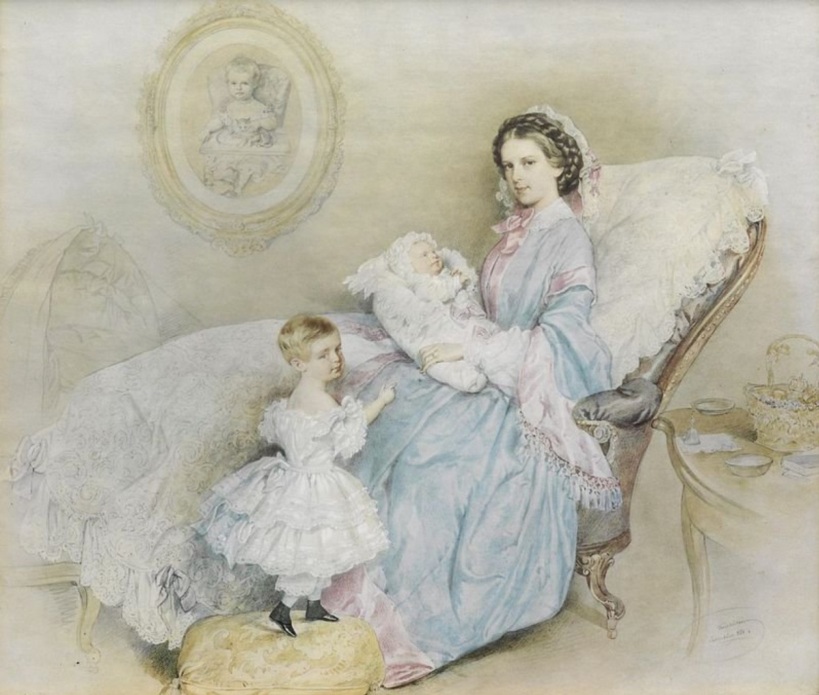 Unknown artist. Empress Elizabeth with the newborn Crown Prince Rudolph and the young Archduke Gisela, with a portrait of the late Sophia Frederica