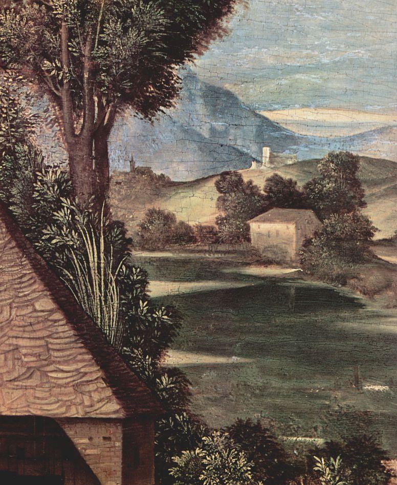 Джорджоне. Поклонение пастухов, деталь: Пейзаж