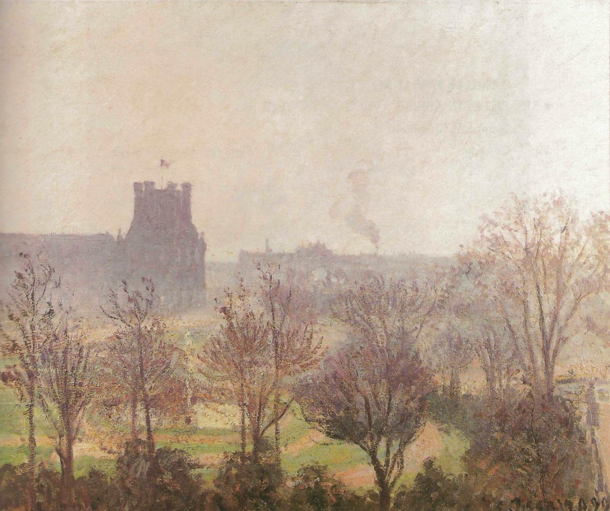 Camille Pissarro. Garden Of The Louvre. The fog effect