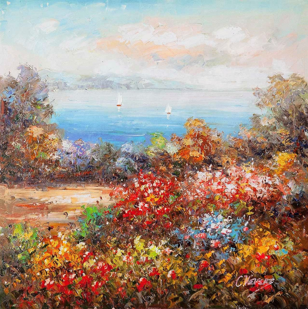 (no name). Blooming garden on the background of the sea