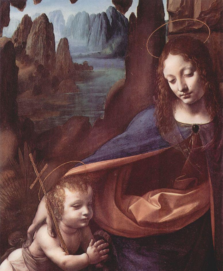 Леонардо да Винчи. Мадонна в гроте, деталь: Мария и Христос