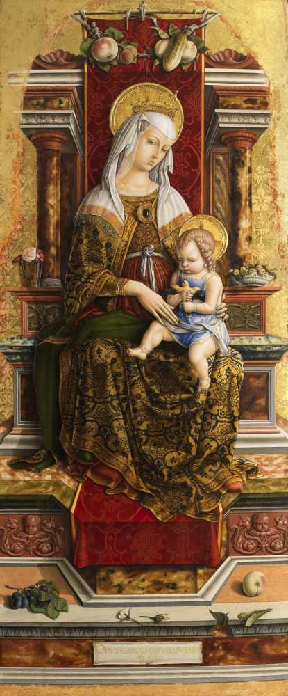 Carlo Crivelli. Madonna on the throne. Altar Triptych Camerino, the central part