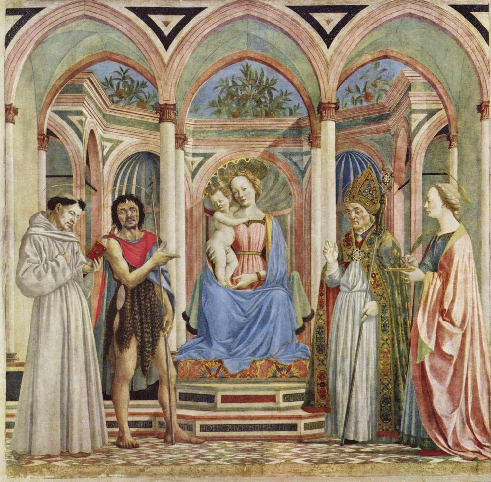 Доменико Венециано. Алтарь Девы Марии, сцена: Мария с младенцем и святыми