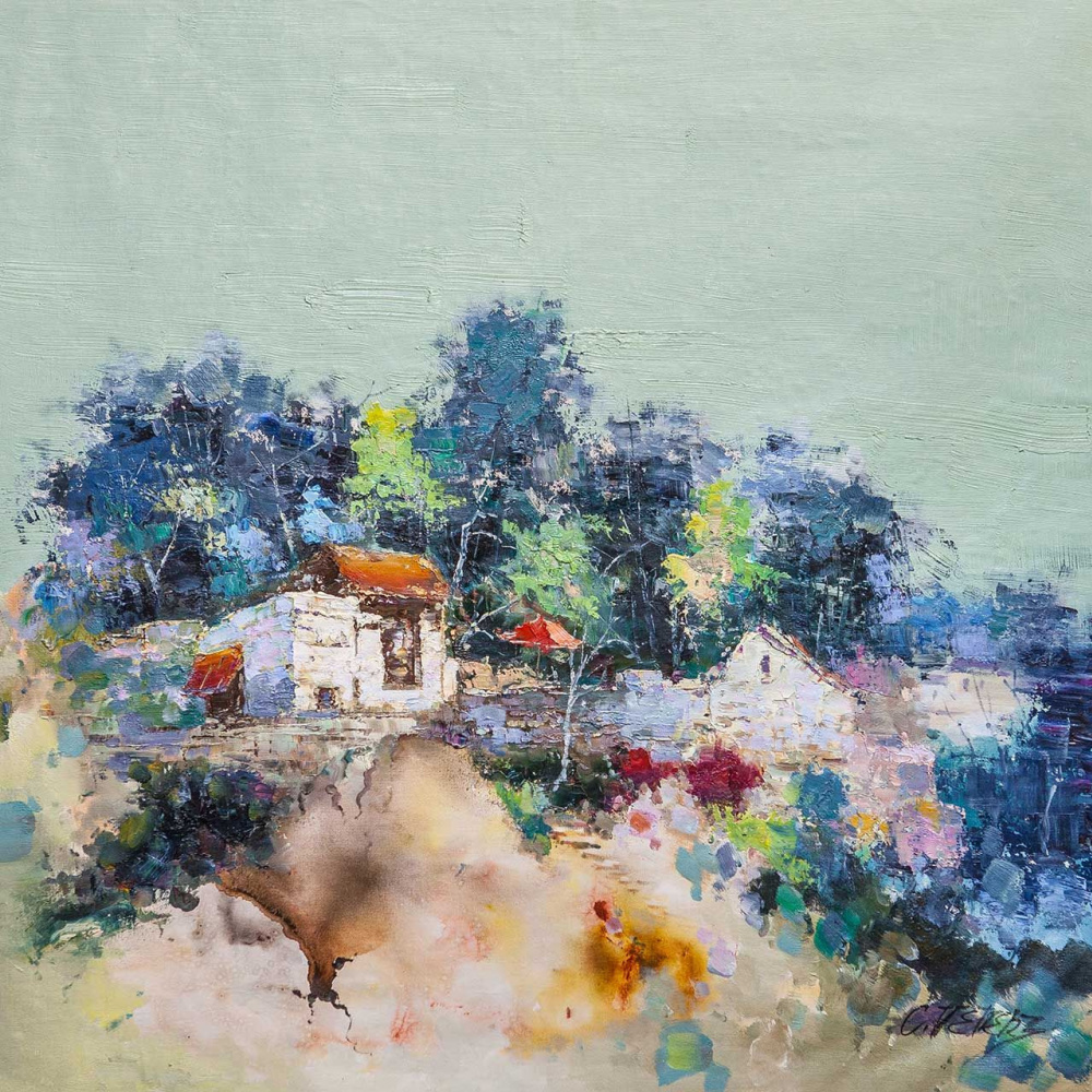 (no name). Blooming Mediterranean. Houses on the hill