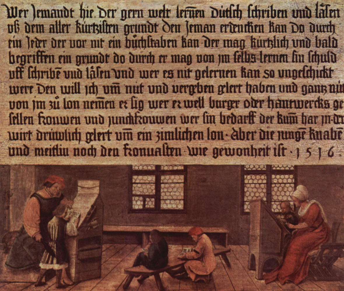 Hans Holbein the Younger. Rules for the school teacher. Classes for children