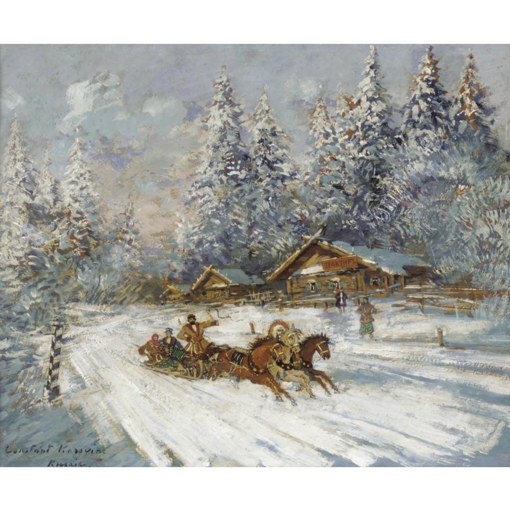 Konstantin Korovin. Troika racing through the snow
