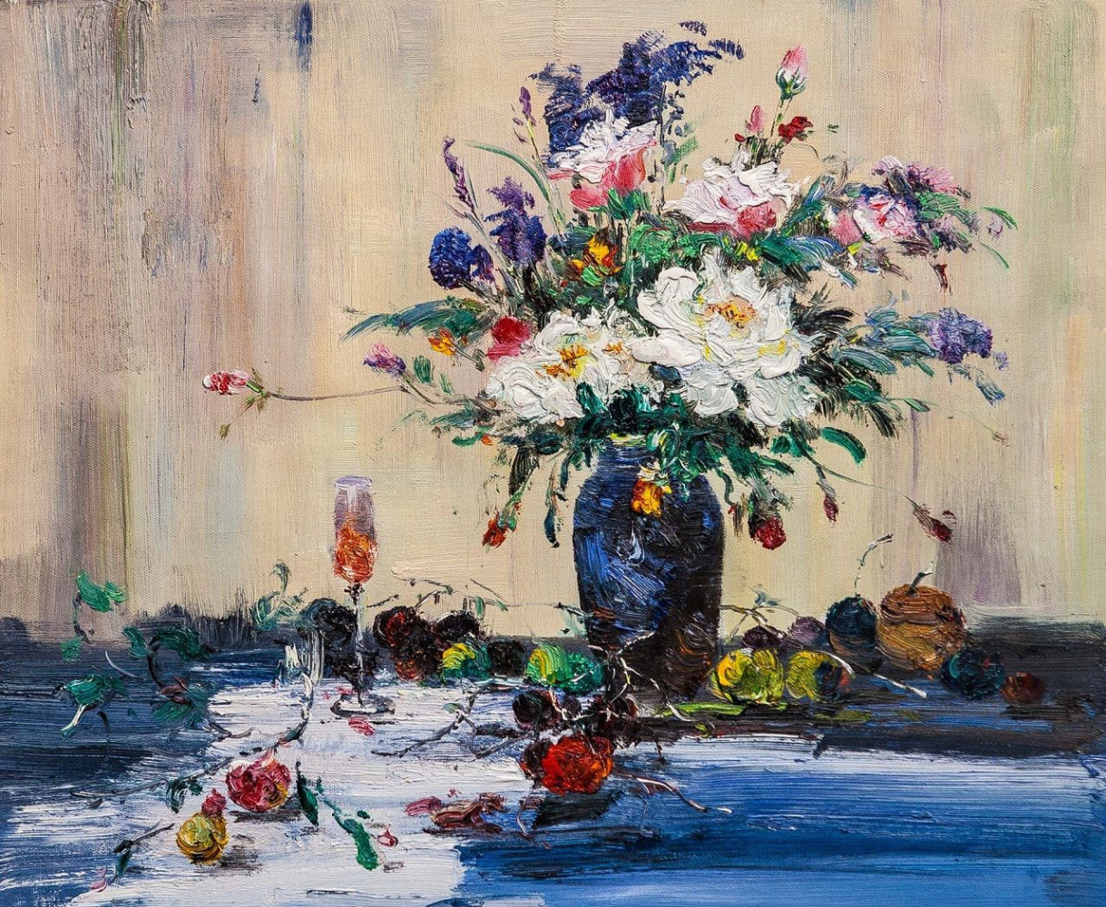(no name). Still life with a bouquet of flowers in a blue vase and garden fruits