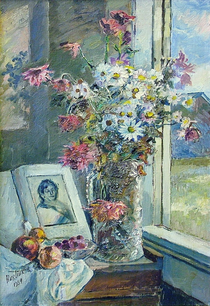 David Davidovich Burliuk. Vase with flowers and book by the window