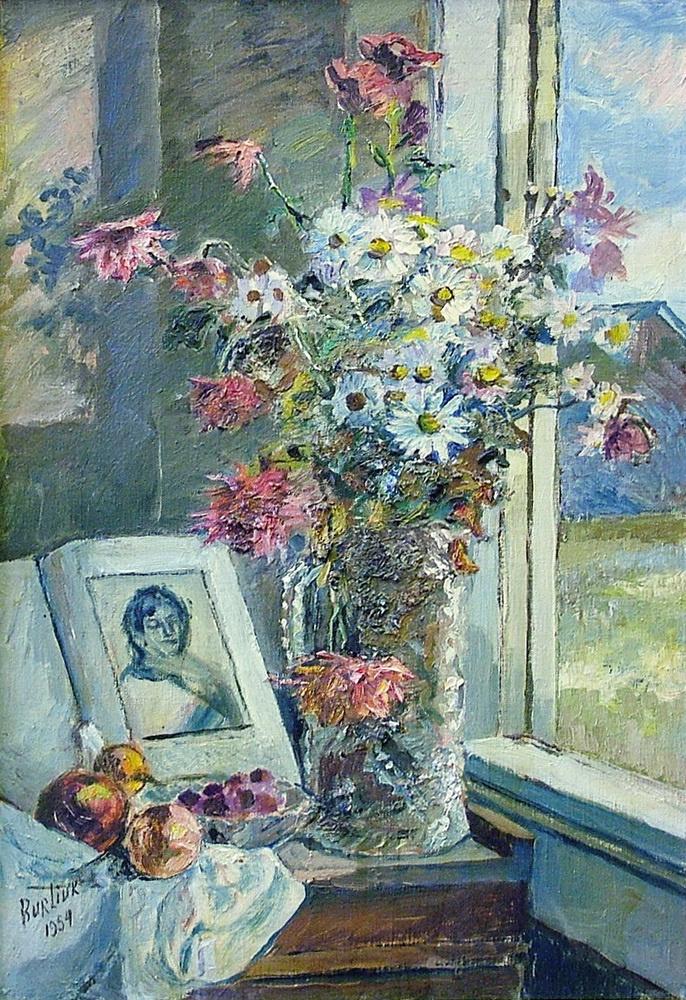 Давид Давидович Бурлюк. Ваза с цветами и книга около окна