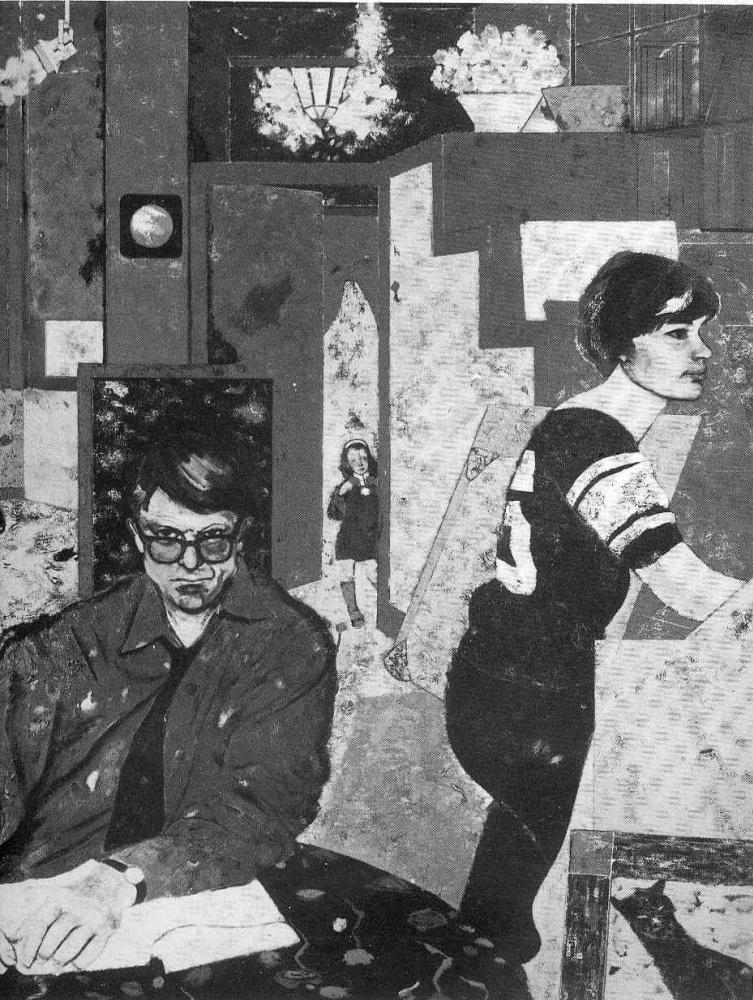 Рональд Китай. Женщина и мужчина в очках