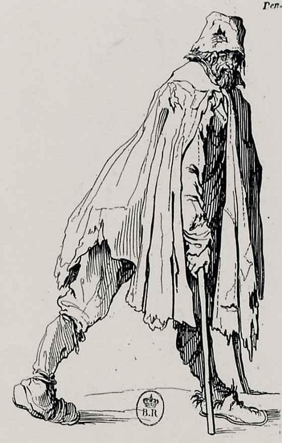 Жак Калло. Нищий с костылями в профиль