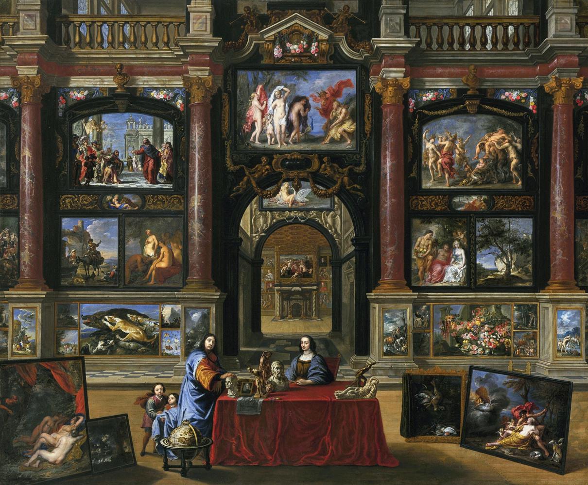 Гонзалес Кокс. Семейный портрет в интерьере картинной галереи