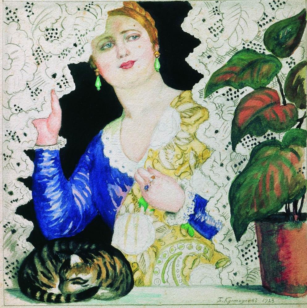Boris Kustodiev. Russian girl at the window