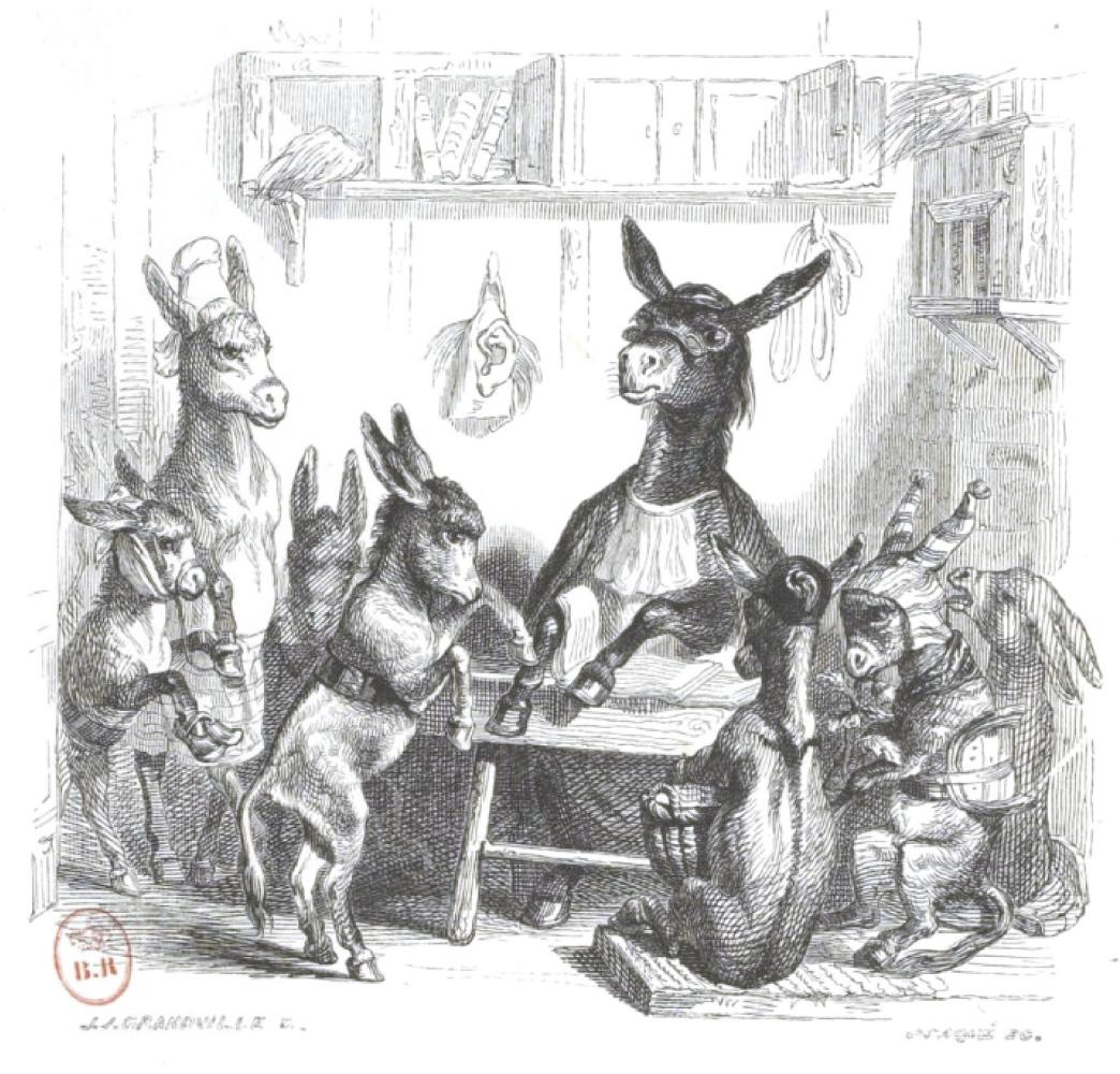 """Жан Иньяс Изидор (Жерар) Гранвиль. Упрямый ученик.  """"Сцены общественной и частной жизни животных"""""""