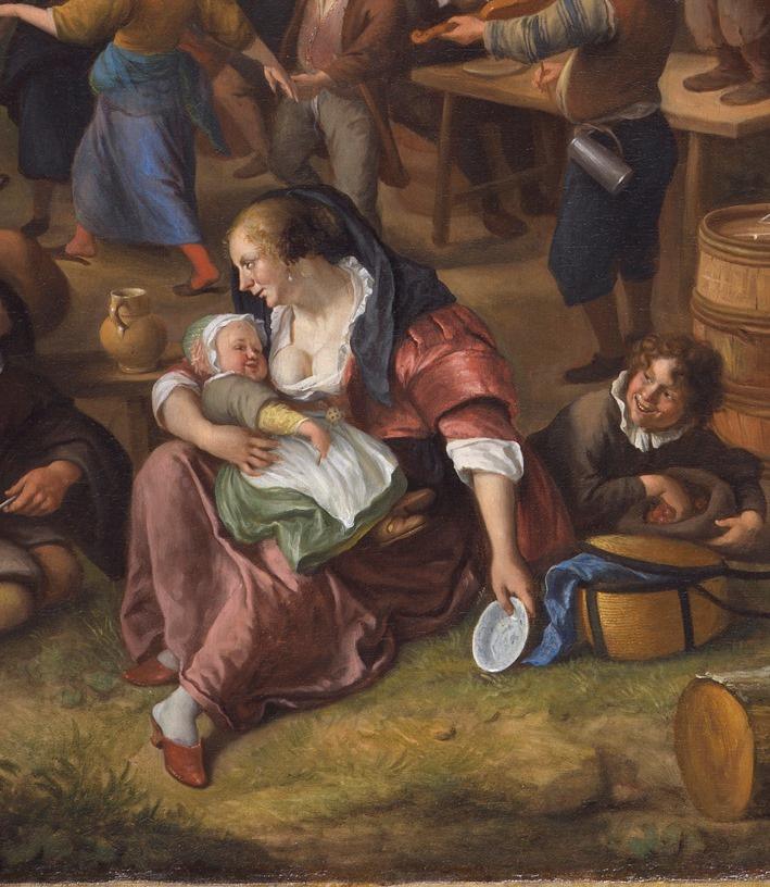 Jan Steen. Fair Varmonde. Peasants making merry at the coaching Inn (fragment 1)