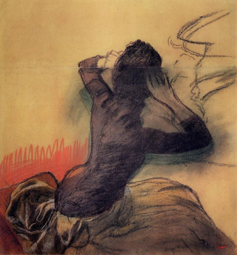 Edgar Degas. Seated woman combing hair