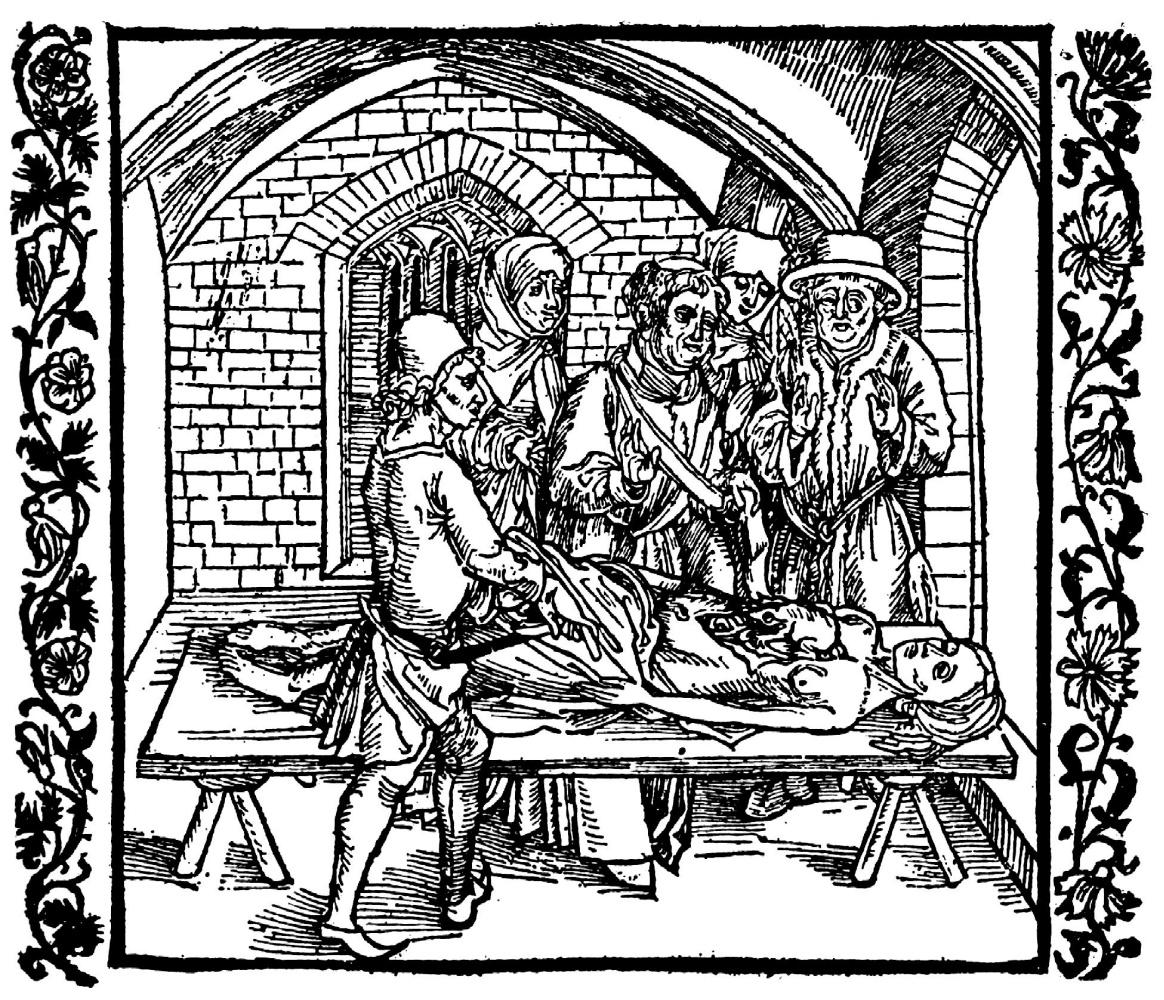 """Альбрехт Дюрер. Иллюстрация к книге """"Рыцарь де ля Тур"""". После смерти на сердце умершей без покаяния женщины находят жабу"""
