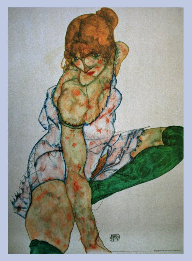 Egon Schiele. Woman in green stockings