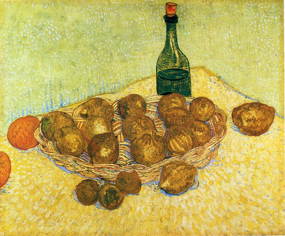 Винсент Ван Гог. Натюрморт с  бутылкой, лимонами и апельсинами