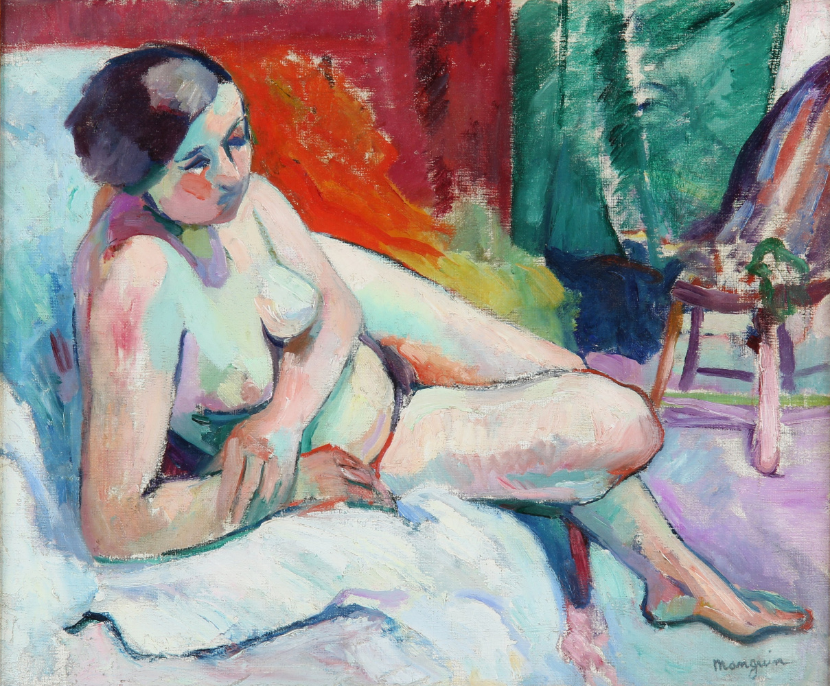 Henri Manguin. Reclining Nude in Studio