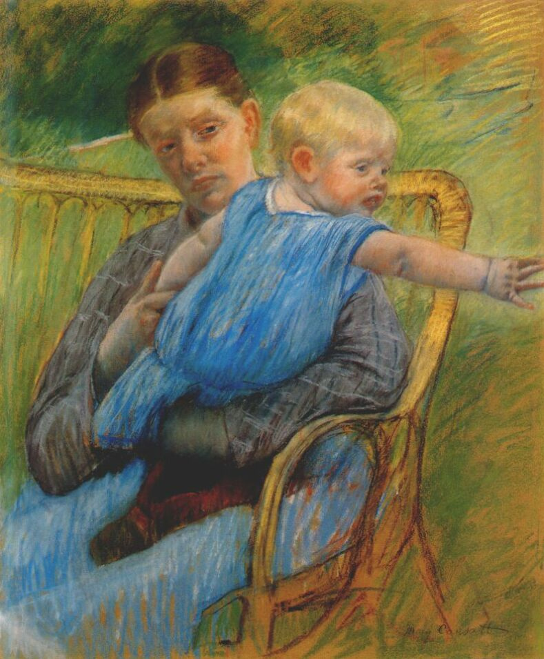 Mary Cassatt. Mathilde holding a baby who reaches out to the right