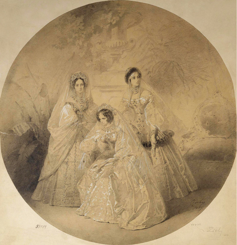 Mikhail Alexandrovich Zichy. Portrait of Empress Maria Alexandrovna, Empress Dowager Alexandra Feodorovna and Grand Duchess Alexandra Joseph. State Hermitage, St. Petersburg.