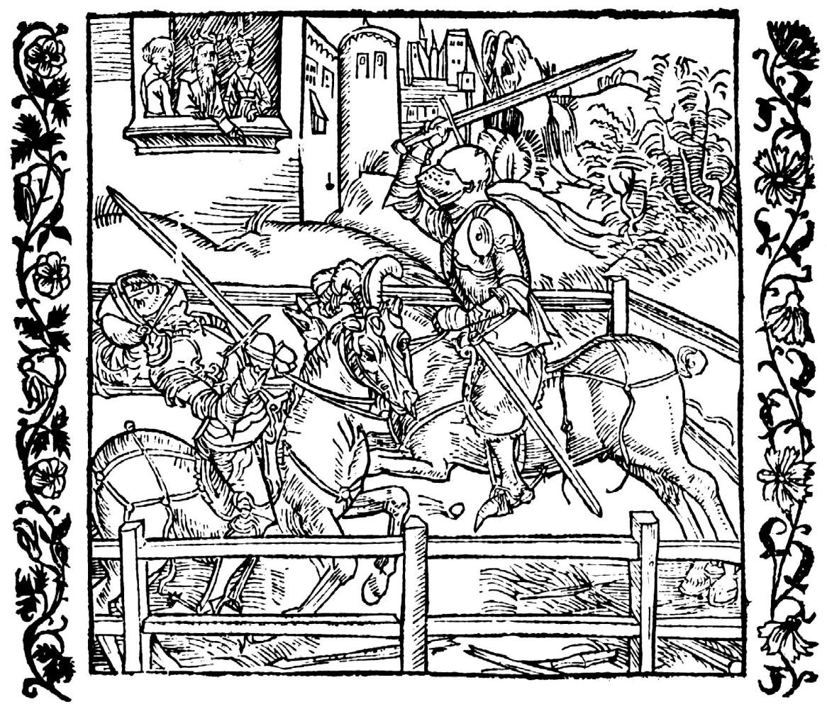 """Альбрехт Дюрер. Иллюстрация к книге """"Рыцарь де ля Тур"""". Римлянка вступает в поединок вместо своего мужа"""